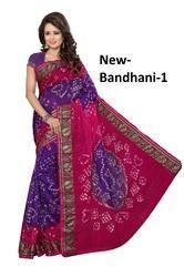 Pink Printed Bandhani Saree