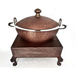 Smokey Hammered Copper Karahi Flat Cover w Heritage Chowki
