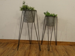 Nested Indoor-Outdoor Galvanised Planter With Stand, Set Of 2