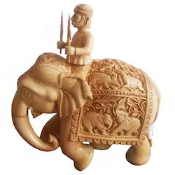 Wooden Carving Elephant With Rider