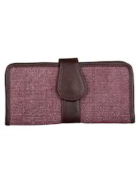 Lavender Cotton And Faux Leather Solid Dyed Ladies Clutch
