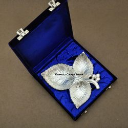 The Leaf Trio Silver Plated Designer Brass Serving Tray