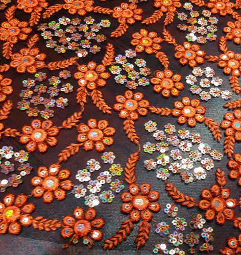 Garments Orange Embroidery Boutique Fabric Manufacturer From Surat