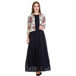 Women's Solid Long Dress With Contrast Waistcoat (DSS9143C)