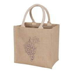 Round Wooden Handle Jute Christmas Bags