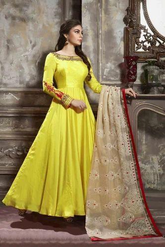 e59507ac8c4 Partywear Gown - Exclusive Designer Wedding Wear Satin Silk Women ...