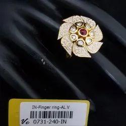 Antique Kundan Mint Finger Ring