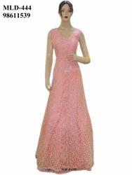 Fancy Exclusive Net Pink Fluffy Long Dress Gown