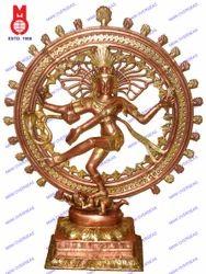 Natraj Dancing Double Ring On Sq.Base Statue