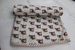 Hand Made Block Print Kantha Baby Quilt