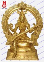 Goddess Saraswati Sitting On Sq. Base W/Ring Statues