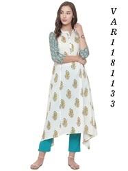 0c28a58a832 Long Cotton Kurtis- Varanga - Embroidered Kurti Manufacturer from Surat