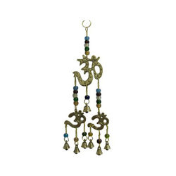Brass Wind Chime Om Design With Bells and Glass Beads