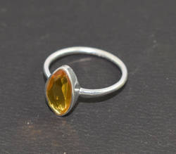 925 Sterling Silver Natural Citrine Faceted Gemstone Ring