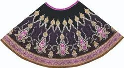 ICON INDIA Hand Embroidery Hand Embroidered Lehenga, POLY TAFFETA