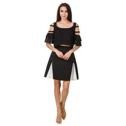 Black And White Dotted Short Skirt