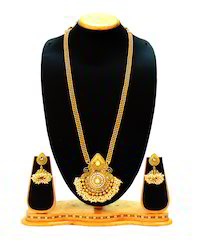 Traditional Pearl Peacock Design Long Necklace Set