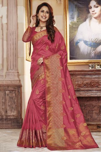bb38b813858 Wedding Sarees - Pink Colour Party Wear Tussar Silk Saree Ecommerce ...