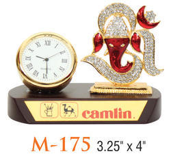 Wooden Base Clock with Royal Ganpati