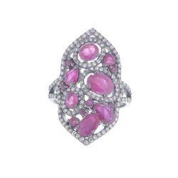 Pave Diamond Ruby Ring