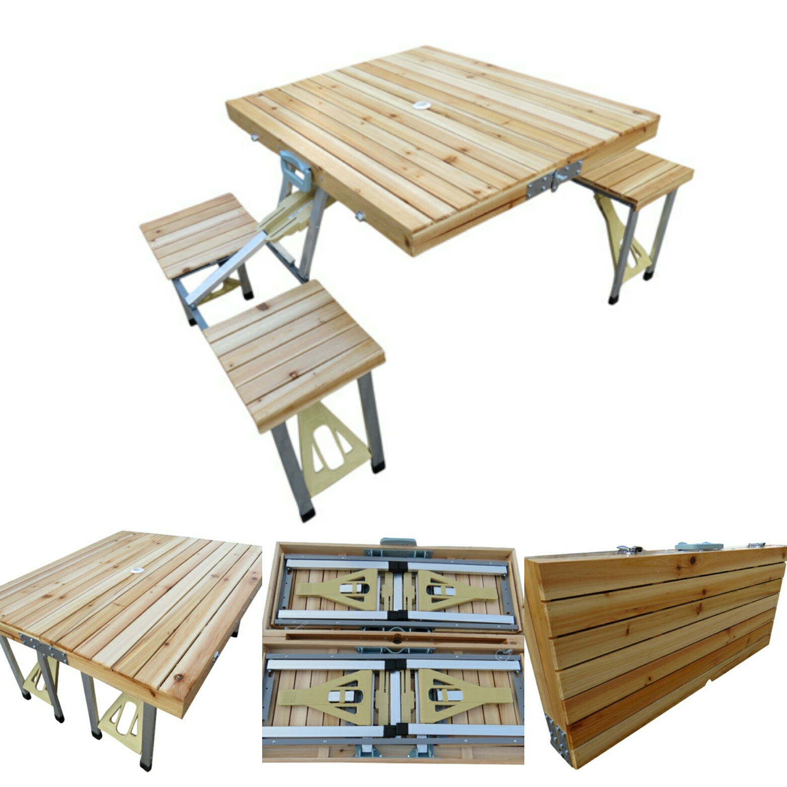 Picture of: Aluminium 85 X 72 5 X 68 Cm Folding Picnic Table Wooden Top 8827 Rs 5500 Piece Id 15925010973