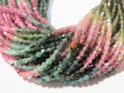 Multi Tourmaline Natural Gemstone Faceted Round Stone Beads