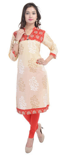 Fab Rajasthan White Printed Ladies Kurtis