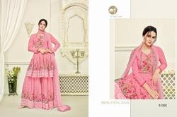 Pink Georgette Printed Women's Sharara  Suit