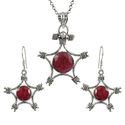 Large Ruby Pearl Gemstone Silver Jewelry Set
