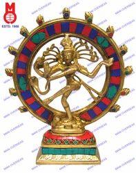 Natraj Dancing W/Stone Work In Ring Statue