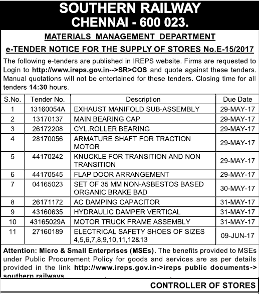 Supply Of Main Bearing Cap At Chennai Tenders In Chennai