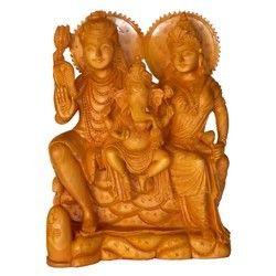 Natura Wooden Carving Shiva Family Statue