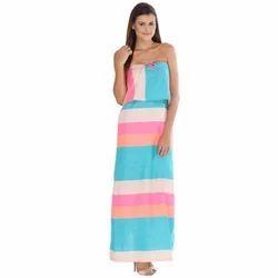 Rainbow Ladies Western Maxi Dress