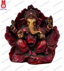 Lord Ganesh Sitting In Leaf Statue