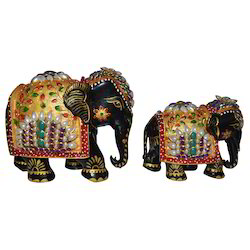 Wooden Painted Elephant With Pearl Work