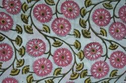 Hand Block Printed Cotton Fabric Floral Printed Indian Printed