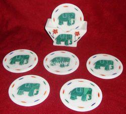 Elephant Design Marble Inlay Coaster Set