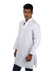 Rajrang White Cotton Floral Hand Embroidered Kurta
