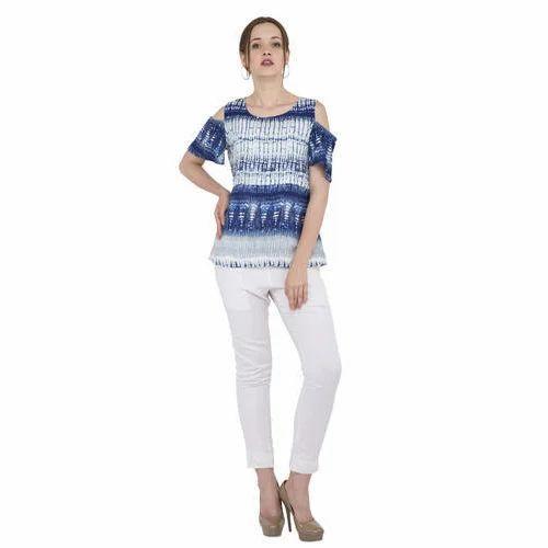 ab8923f741f2f Ladies Cold Shoulder Top - Blue Cold Shoulder Top Manufacturer from Delhi
