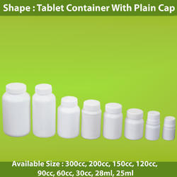 Tablet Container with Plain Cap