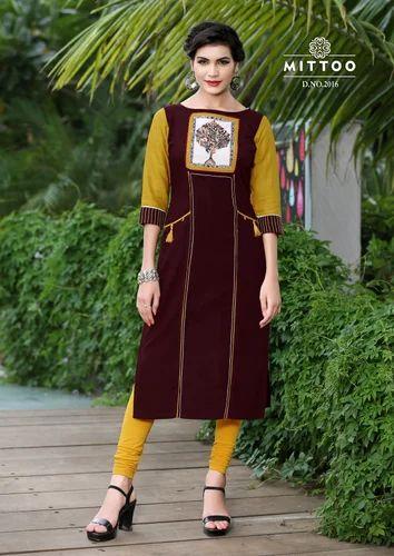 0e3b4e43ab Ladies Kurti - Mittoo Priyal Vol 2 Cotton Slub Designer Kurtis (8 Design)  Manufacturer from Surat
