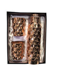 Copper Gift Set Diamond Bottle With 2 Glass