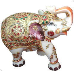 Gold Painting Marble Elephant Corporate Gift
