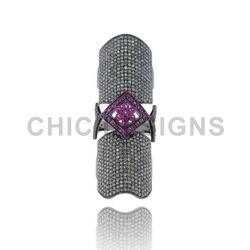 Diamond Ruby Knuckle Ring