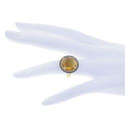 Hessonite Quartz Gemstone Ring