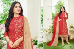 3/4 Sleeve Red Shaista Salwar Suit Fabric