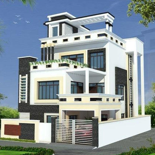 5 Bedroom Flat Roof Contemporary India Home: Front Elevation Manufacturer From Gurgaon