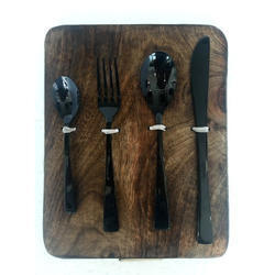 Black Titanium Balloon Pattern Cutlery