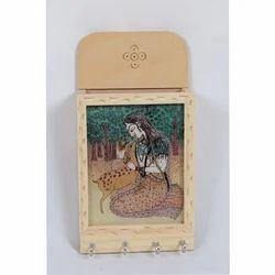 Pine Wood Gemstone Letter Holder with Key Hanger