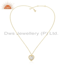18k Gold Plated Silver Mother of Pearl Gemstone Heart Pendant Jewelry